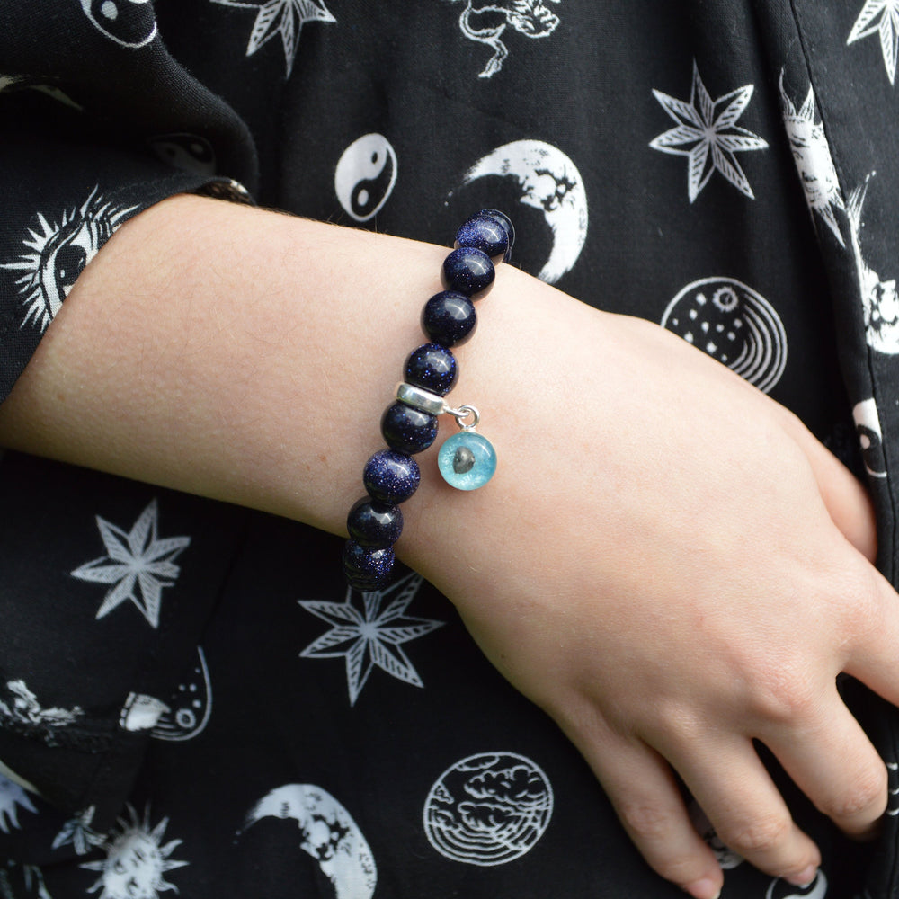 Genuine Shooting Star Blue Goldstone Bracelet