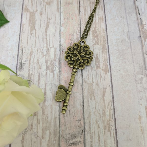 Key Personalised Picture Vintage Gold Necklace