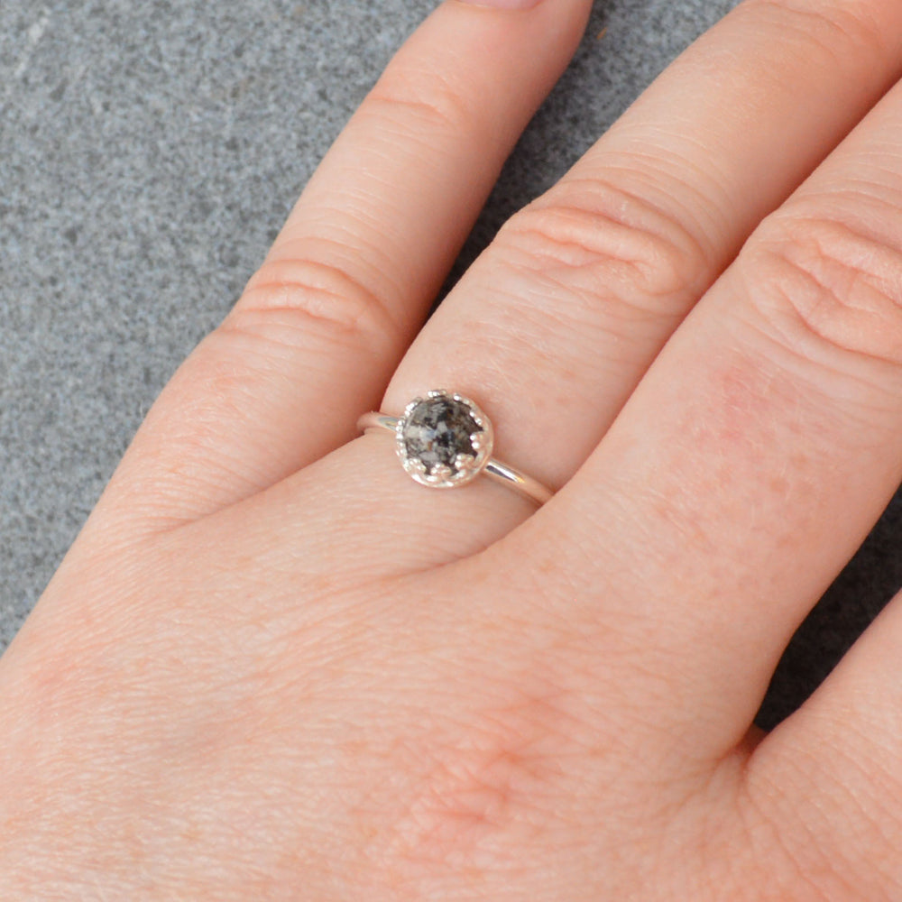 Small Princess Round Stone Full Band Ashes Ring