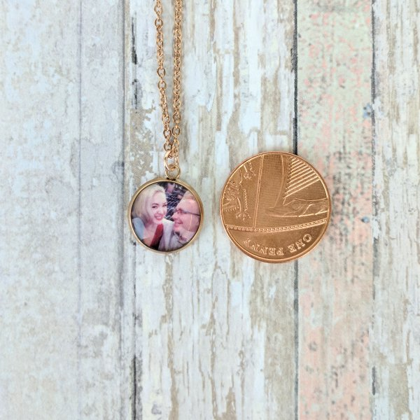 Rose Gold Small Personalised Picture Necklace