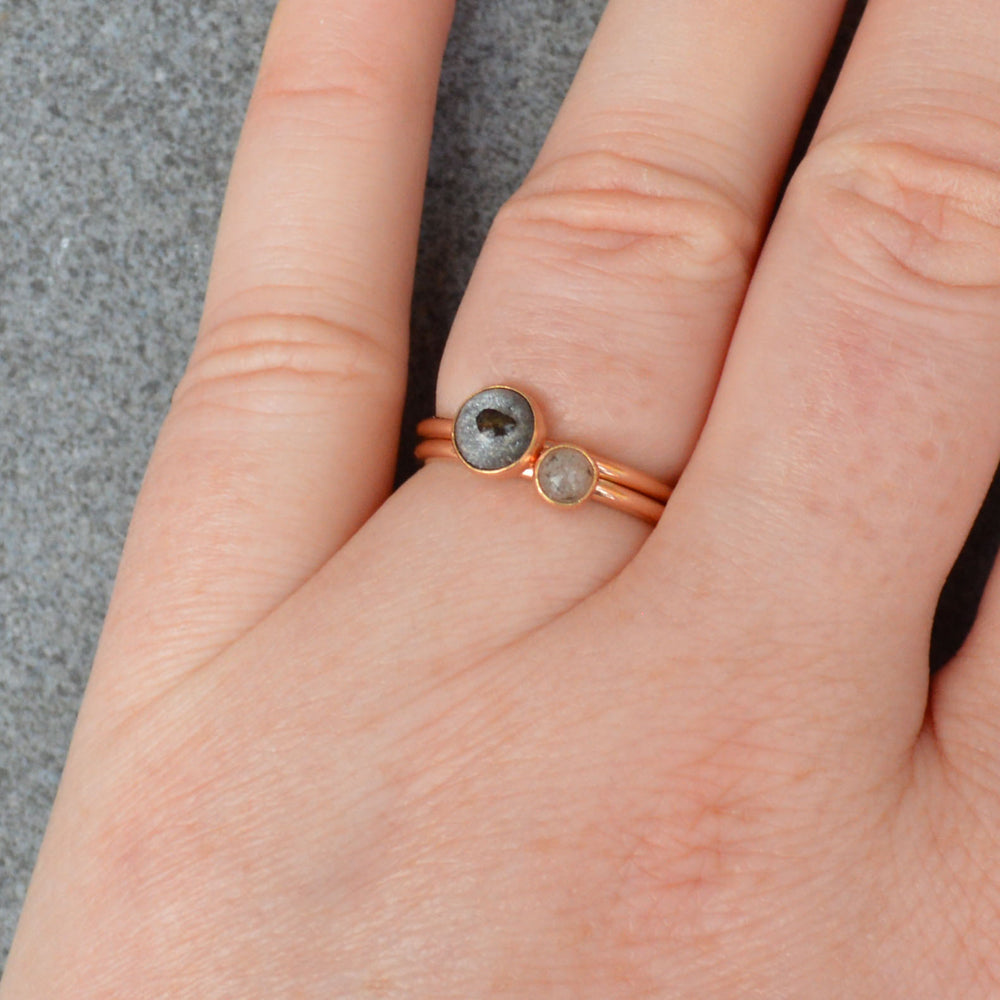 Rose Gold Genuine Moon Dust Hand Blown Ring