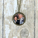 Large Round Frame Personalised Picture Vintage Gold Necklace