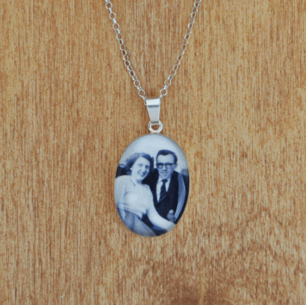 Extra Large Personalised Picture Sterling Silver Necklace