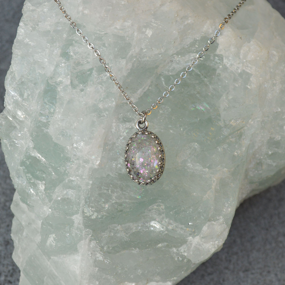 Princess Medium Oval Stone Ashes Necklace