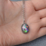 Princess Large Oval Stone Ashes Necklace