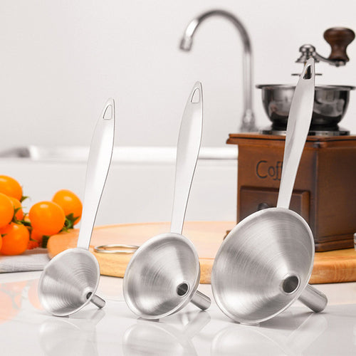 3pcs Home Kitchen Mini Stainless Steel Funnel For