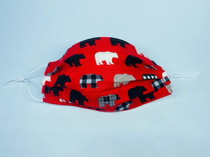 Bears on Red Face Mask