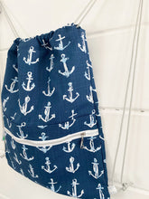 Load image into Gallery viewer, Drawstring Backpack - Navy Anchors
