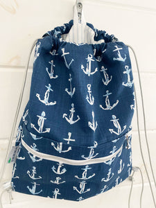 Drawstring Backpack - Navy Anchors