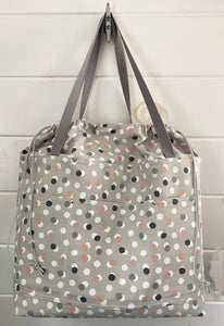 Expandable Top Beach Bag - French Dots