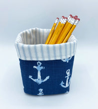 Load image into Gallery viewer, Mini Storage Bin - Navy Anchors