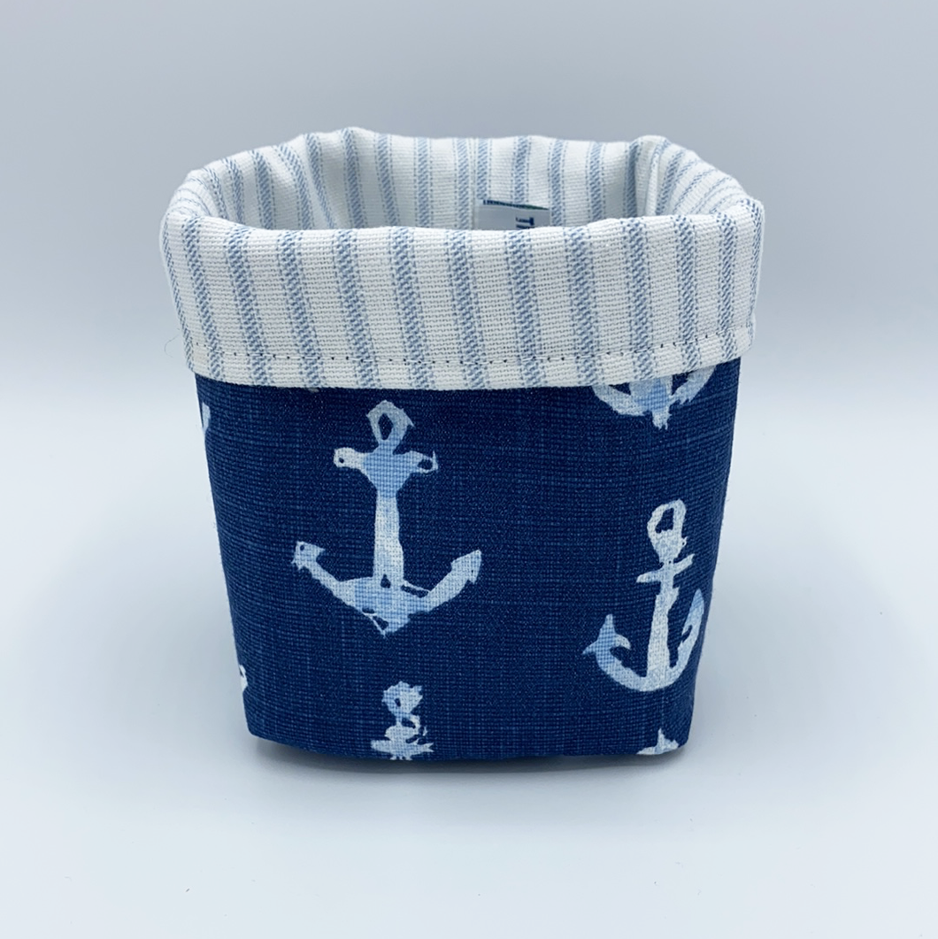 Mini Storage Bin - Navy Anchors