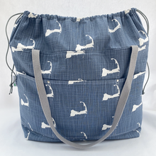Load image into Gallery viewer, Expandable Top Beach Bag - Denim Cape Cod