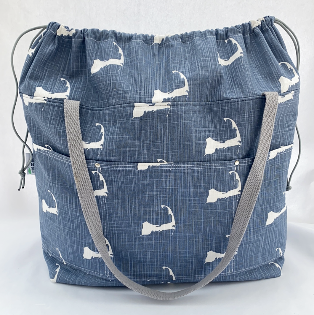 Expandable Top Beach Bag - Denim Cape Cod