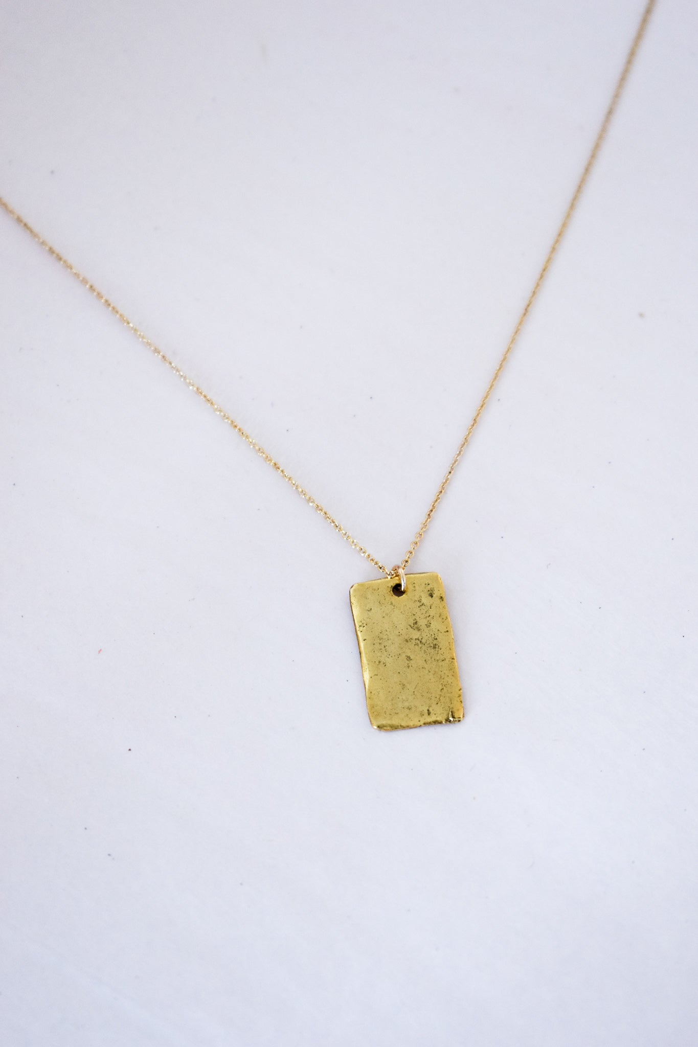 Gold Hammered Tag Necklace