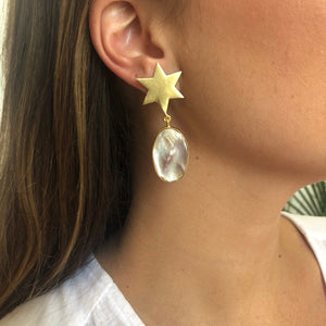 Star + Pearl Drop Earrings