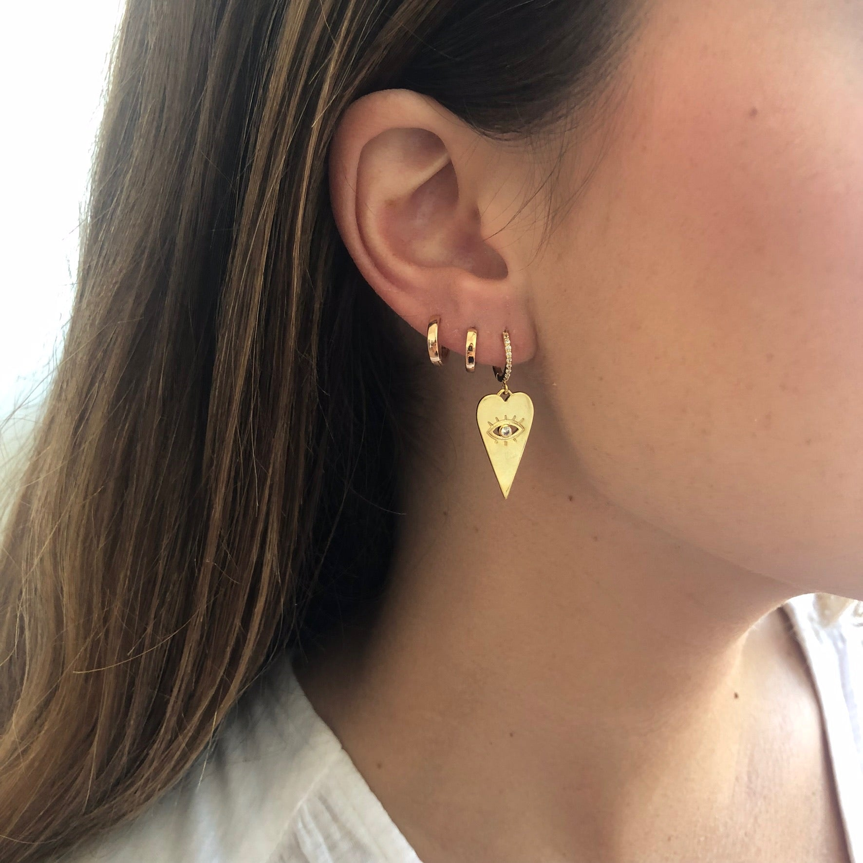 Gold Heart Huggie Hoops