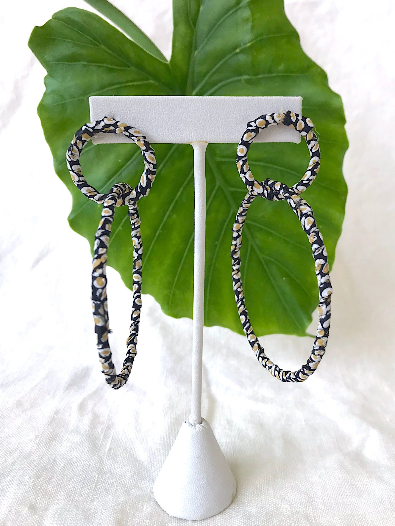 Skinny Print Wrapped Hoops