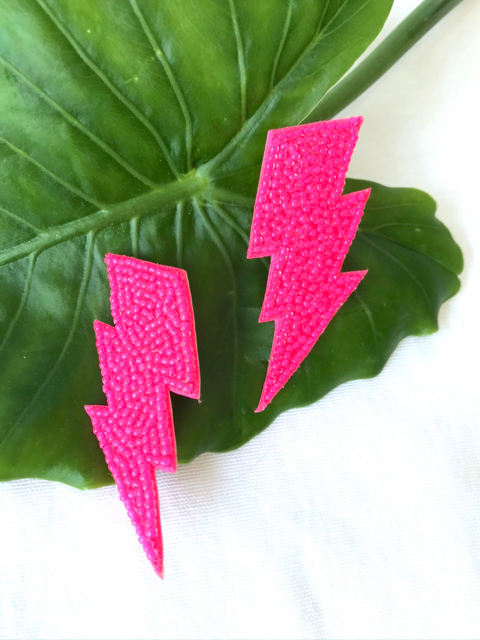 Neon Pink Bolt Earrings