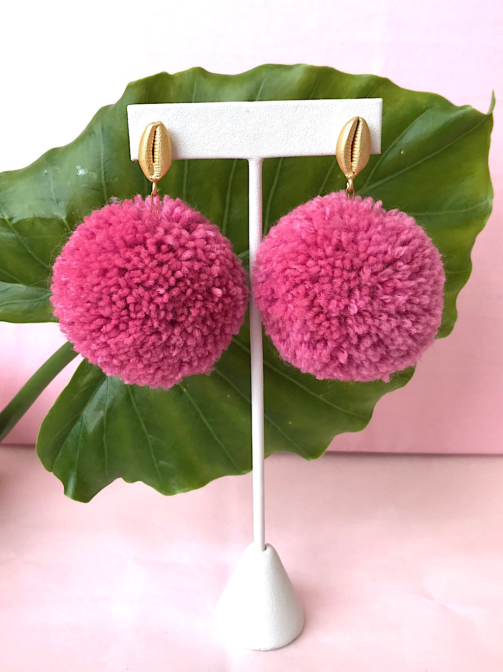 Blush Pom Pom Earrings