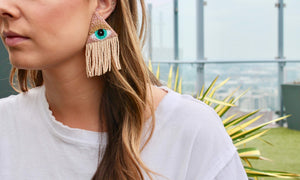 Nude + Blush Eye Tassel Earrings