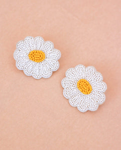 Beaded Daisy Earrings