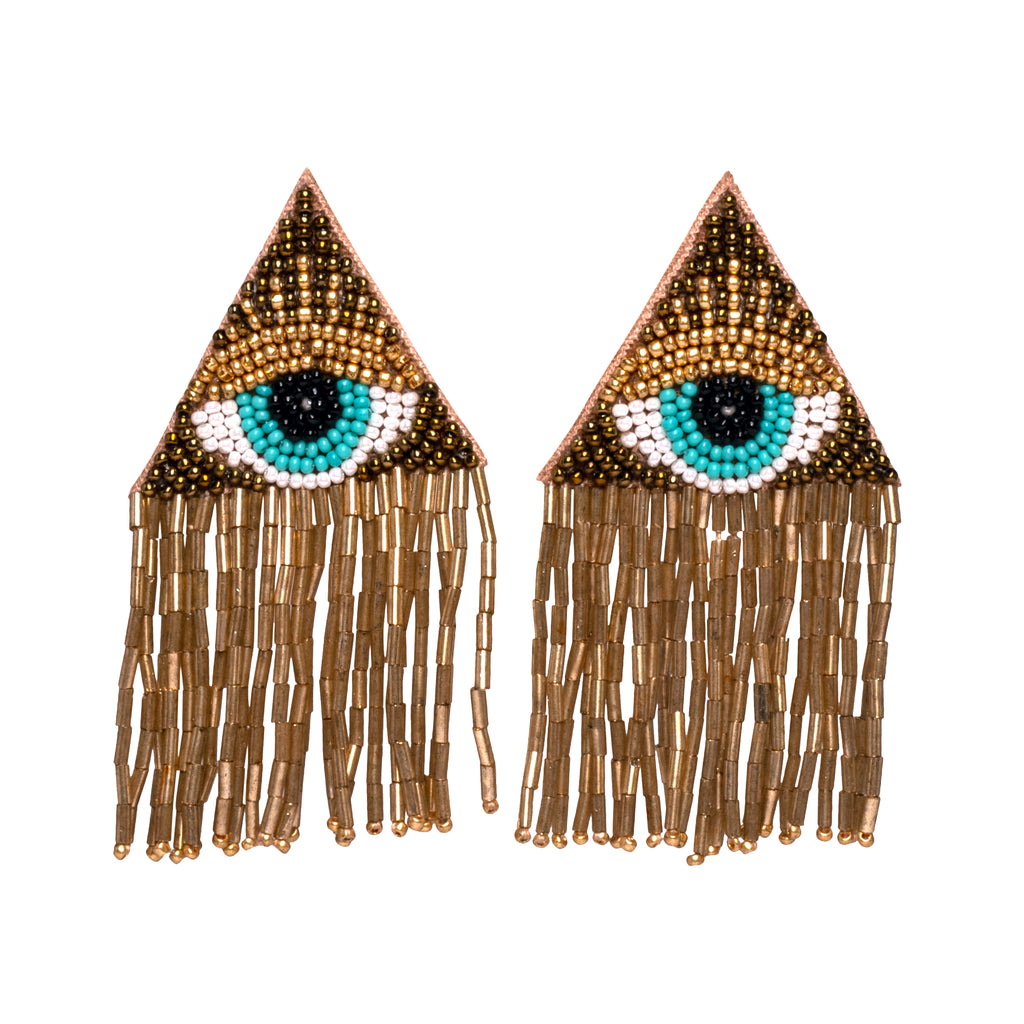 Gold + Bronze Eye Tassel Earrings