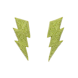 Neon Green Bolt Earrings