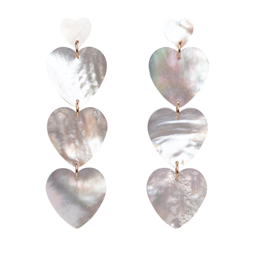 MOP Heart Drop Earrings