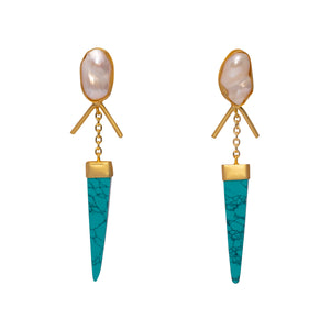 Pearl + Turquoise Drop Earrings
