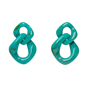 Teal Link Earrings