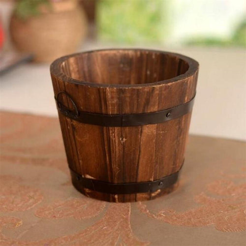 Small Barrel Flower Pot