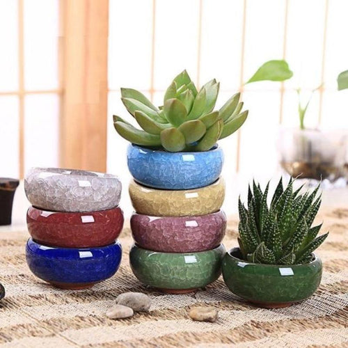 Ice-Crack Ceramic Flower Pot