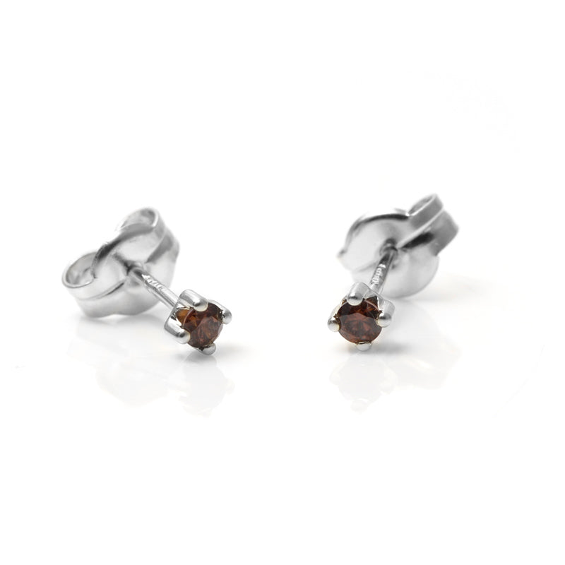 PENDIENTES SINGLE BROWN SILVER