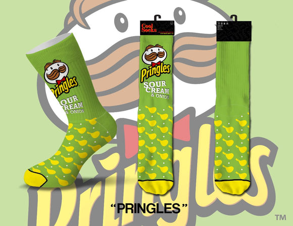 Pringles Sour Cream & Onion Chips Crew Socks Fits Sizes 8-12