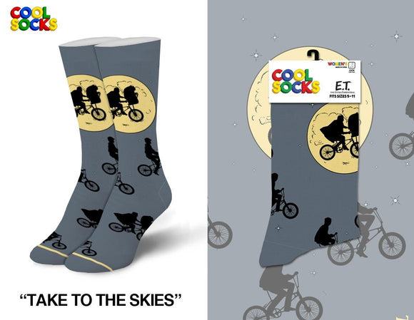 ET the Extra Terrestrial Crew Socks Fits Sizes 5-10