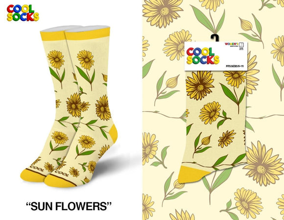 Sunflowers Crew Socks Fits Sizes 5-10