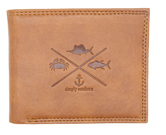 Simply Southern Guys Leather Wallet - Fish