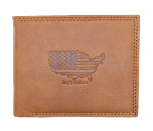 Simply Southern Guys Leather Wallet - USA