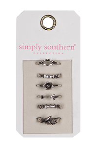Simply Southern Ring Set of 6 - Silver Arrow