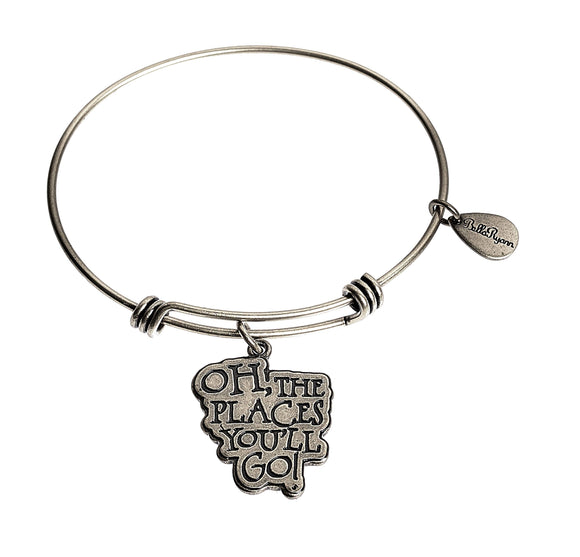 Oh, The Places You'll Go! Expandable Bangle Charm Bracelet in Silver
