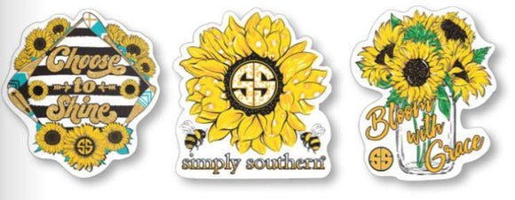 Simply Southern Sticker Decal 3 pack - Sunflower