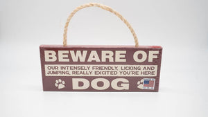 Beware of Dog 4x10 Rope Sign MyWord - Turnmeyer Galleries