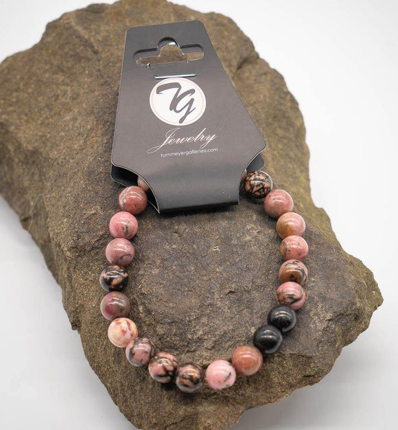 Natural Stone 8mm Beaded Stretch Bracelet - Rhodonite - Turnmeyer Galleries