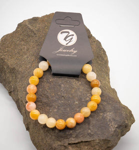 Natural Stone 8mm Beaded Stretch Bracelet - Yellow Jade