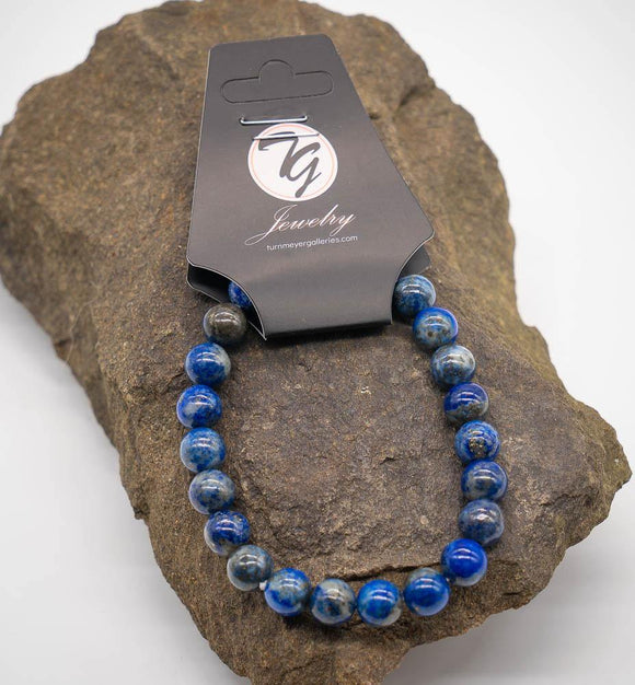 Natural Stone 8mm Beaded Stretch Bracelet - Lapis - Turnmeyer Galleries