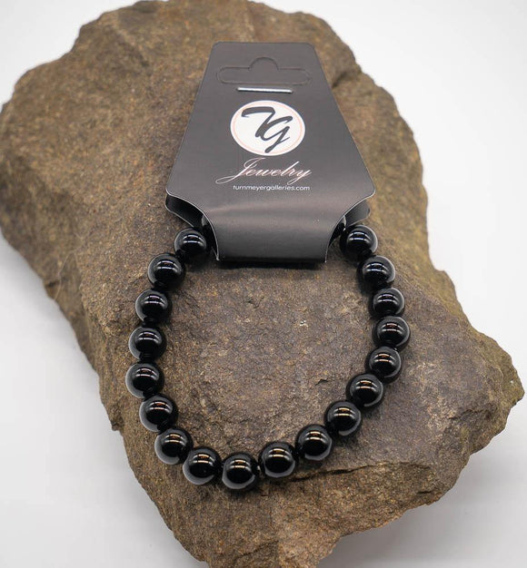 Natural Stone 8mm Beaded Stretch Bracelet - Black Agate - Turnmeyer Galleries