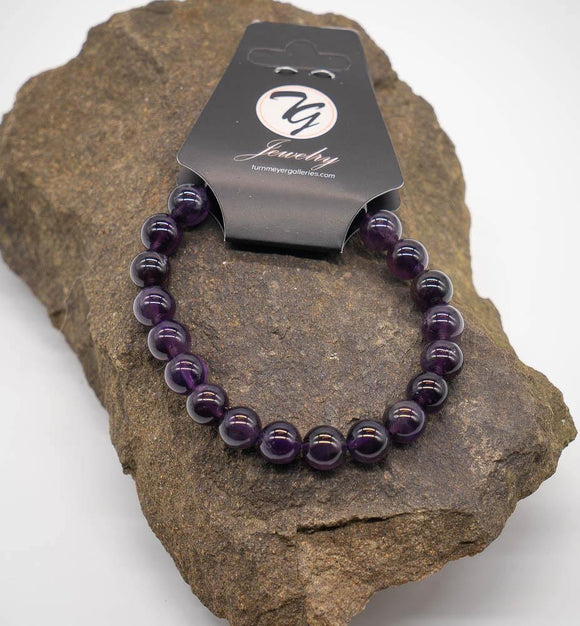 Natural Stone 8mm Beaded Stretch Bracelet - Amethyst - Turnmeyer Galleries