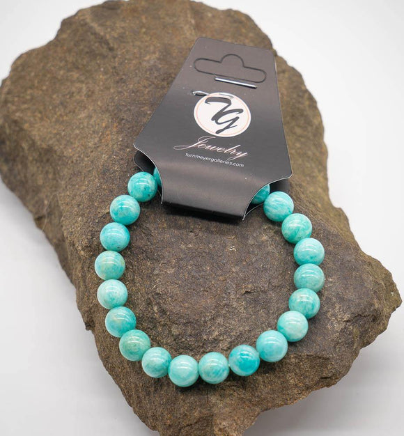 Natural Stone 8mm Beaded Stretch Bracelet - Amazonite - Turnmeyer Galleries