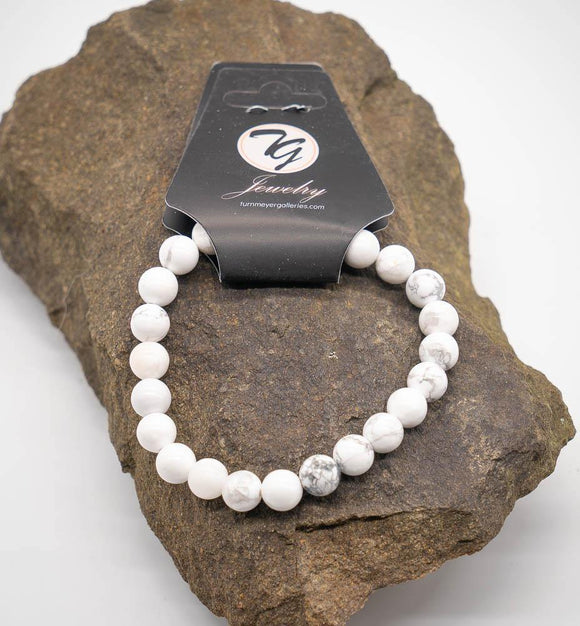 Natural Stone 8mm Beaded Stretch Bracelet - Howlite - Turnmeyer Galleries